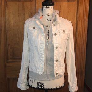 SO White Layered Attchd Gray Fleece & Denim Jacket